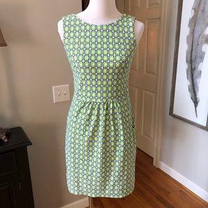 Jude Connally Navy and green geometric dress Sz S
